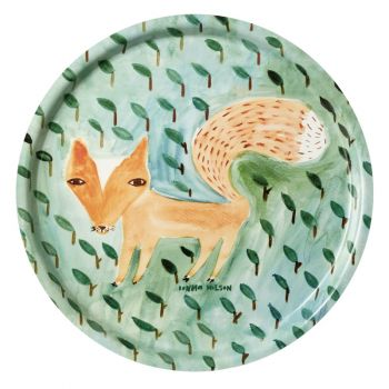 Melamine Serving Tray Painted Watercolour Fox Round Green Leaves