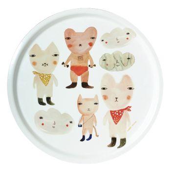Melamine Serving Tray Painted Watercolour Bear Circle