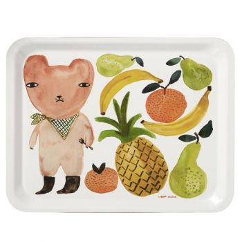 Melamine Serving Tray Painted Watercolour Fruit Bear Rectangle