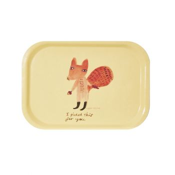 Melamine Serving Tray Painted Watercolour Small Fox Rectangle