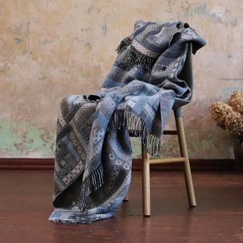 Blue Patterned Merino Wool Throw