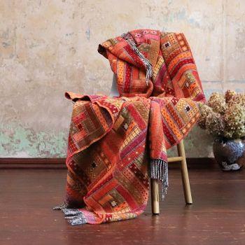 Red Orange Merino Wool Throw
