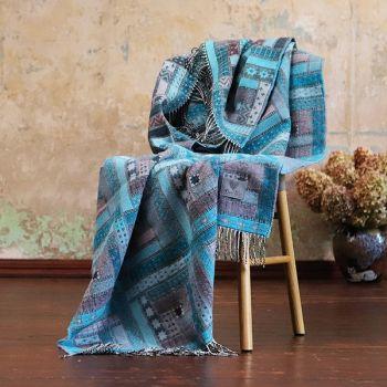 Turquoise Patterned Merino Wool Throw