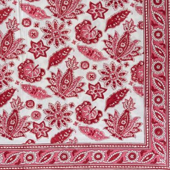 Red Block Print Tablecloth Mews Furnishings
