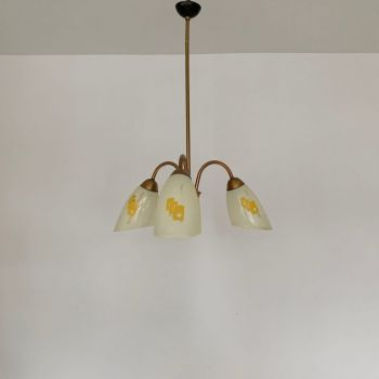 Mid-Century French Chandelier With Yellow Geometric Patterned Shades