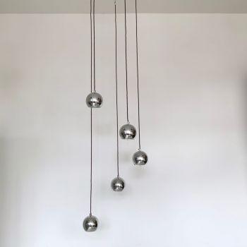 Mid Century Style Atomic Chromed Multi Pendant Chandelier