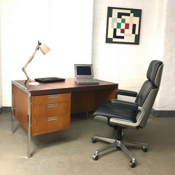 Mid Century Teak and Chrome Desk with Vinyl Top