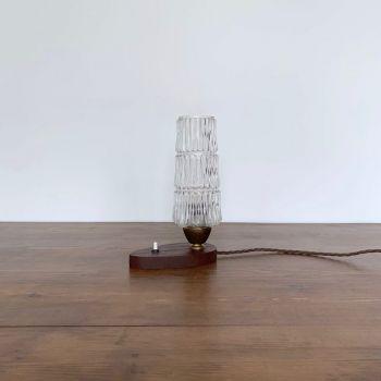 MID CENTURY TEAK LAMP WITH GLASS SHADE