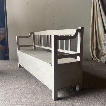 Modernist Box Bench In Old White