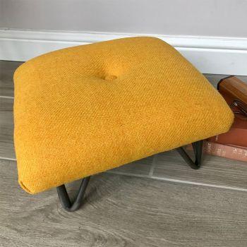 Mustard Yellow Twill Harris Tweed Retro-style Footstool