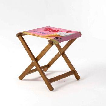 Outdoor Teak Stool with Martin Wiscombe '99 Flake' Design