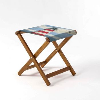 Outdoor Teak Stool with Martin Wiscombe 'Lighthouse' Design