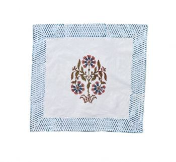 set of 4 block printed napkins blue and pink mews furnishings