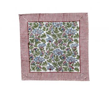 Kelpie Block Print Cotton Napkin in Green & Red