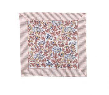 Kelpie Block Print Cotton Napkin in Pink and Blue