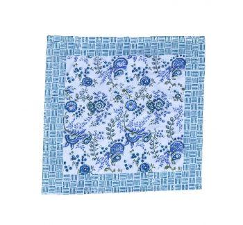 blue floral block printed cotton napkin mews furnishings