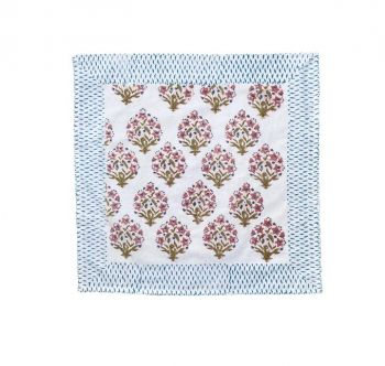 floral pink and blue block print cotton napkin mews furnishings