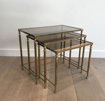 Set of 3 French Neoclassical Brass Nesting Tables