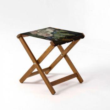 Outdoor Teak Stool with National Gallery 'Huysum Hollyhocks' Design