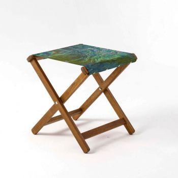 Outdoor Teak Stool with National Gallery 'Irises' Design