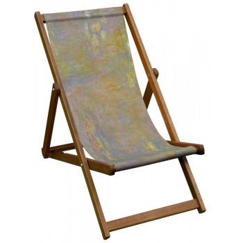 Vintage Style Deckchair with National Gallery 'Water Lilies' Design Sling