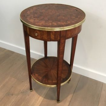 Marquetry & Brass Round Drawer Side Table