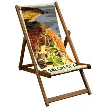 Vintage Style Deckchair with Bexhill on the Sea Design Sling