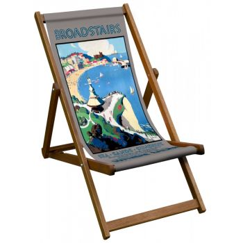Vintage Style Deckchair with Broadstairs Design Sling