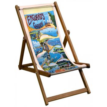 Vintage Style Deckchair with Isle of Wight Design Sling