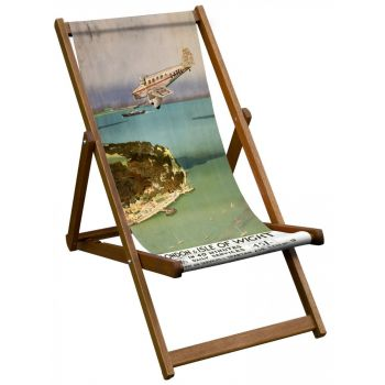 Vintage Style Deckchair with London & Isle of Wight Design Sling