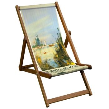 Vintage Style Deckchair with Norfolk Broads Design Sling