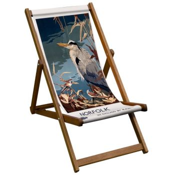 Vintage Style Deckchair with Norfolk Design Sling
