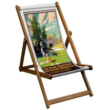 Vintage Style Deckchair with Peak District Design Sling
