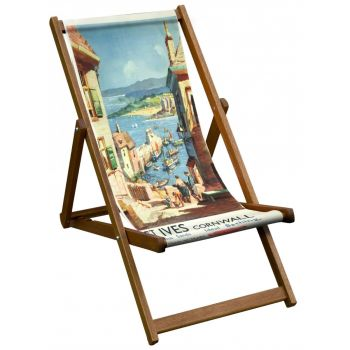 Vintage Style Deckchair with St Ives, Cornwall Design Sling