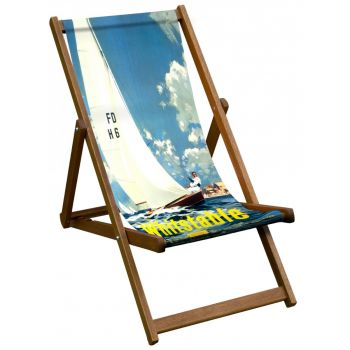 Vintage Style Deckchair with Whitstable Design Sling