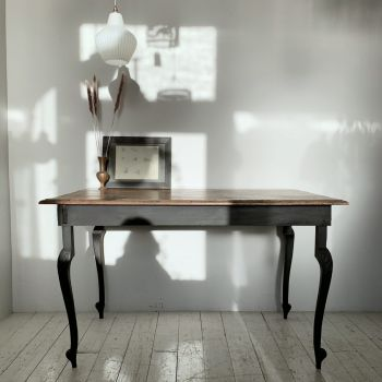 Oak Top Table With Painted Cabriole Legs