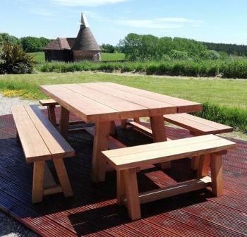 Solid Oak Garden Trestle Dining Table