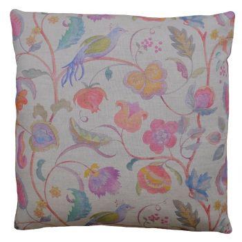 Floral Crewel Tree Summer Linen Cushion