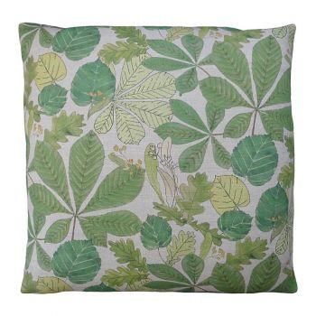 Vibrant Summer Green Leaf Linen Cushion