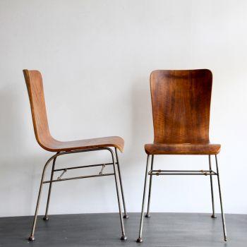 Original Walnut Mid-Century Bent Chairs