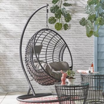 Indoor Outdoor Black Hanging Egg Chair