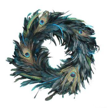 Peacock Feather Christmas Wreath