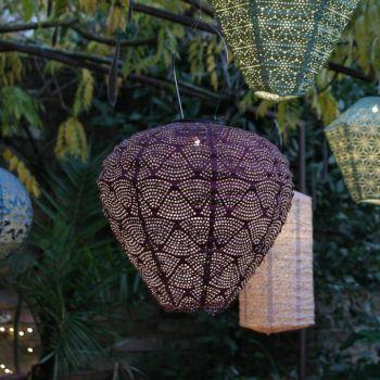 Grey Rope Solar LED Garden Pendant Light