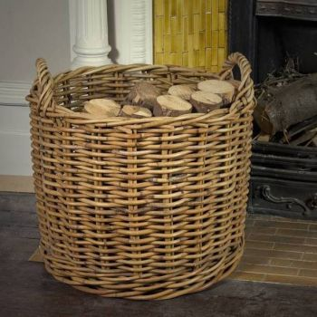 round large rattan log basket