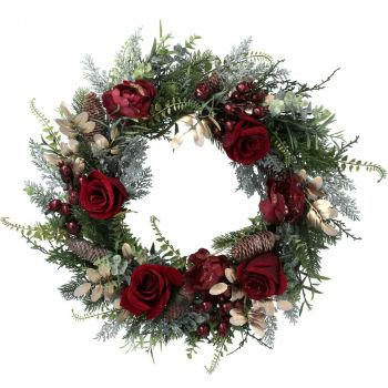 Red Rose And Gold Fir Christmas Wreath