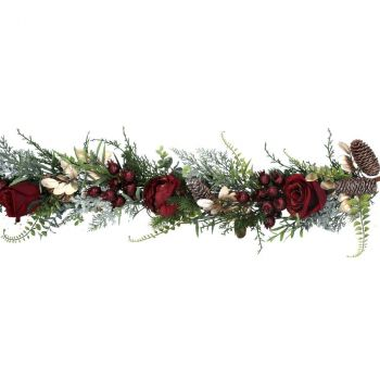 Red Rose And Gold Fir Christmas Garland