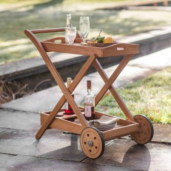 Eucalyptus Wood Outdoor Drinks Trolley