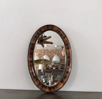 Oval Veneered Wooden Mirror