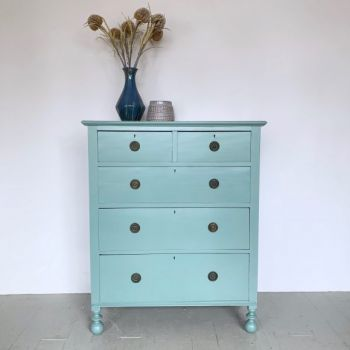 Turquoise blue painted chest of drawers vintage antique
