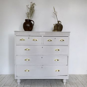 Painted Chest Of Drawers With Lacquered Brass Handles